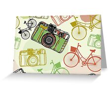 Vintage camera and bicycles Greeting Card