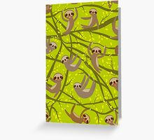 Cute Sloths on green Greeting Card