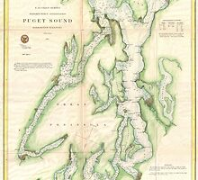 Vintage Map of The Puget Sound (1867) by BravuraMedia