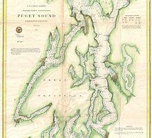 Vintage Map of The Puget Sound (1867) by BravuraMedia