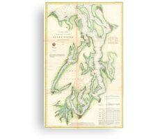 Vintage Map of The Puget Sound (1867) Metal Print