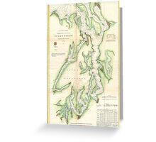 Vintage Map of The Puget Sound (1867) Greeting Card