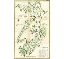 Vintage Map of The Puget Sound (1867) Photographic Print