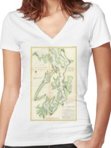 Vintage Map of The Puget Sound (1867) Women's Fitted V-Neck T-Shirt
