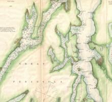 Vintage Map of The Puget Sound (1867) Sticker