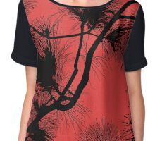 Desert flora, abstract pattern, floral design, black and red Chiffon Top