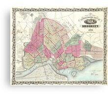 Vintage Map of Brooklyn (1868) Canvas Print