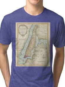 Vintage Map of New York City (1869) Tri-blend T-Shirt