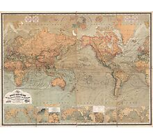 Vintage Map of The World (1870) Photographic Print