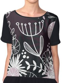 Retro background with vintage flowers Chiffon Top