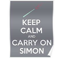 Keep Calm and Carry On Simon—White Text Poster