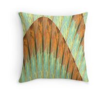 Copper, Aqua, and Yellow Pattern Throw Pillow