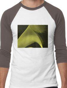 Yellow waves, line art, curves, abstract pattern 2 Men's Baseball ¾ T-Shirt