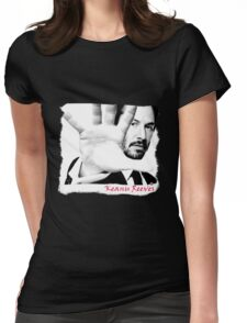 Keanu Reeves (Black and White Attitude)  Womens Fitted T-Shirt