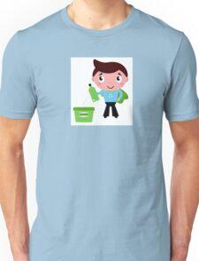Kid giving empty bottle in recycle bin Illustration Unisex T-Shirt