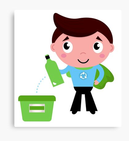 Kid giving empty bottle in recycle bin Illustration Canvas Print