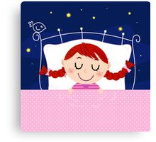 leeping sweet girl. Vector cartoon Illustration Canvas Print