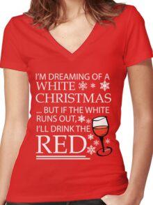 White Christmas Women's Fitted V-Neck T-Shirt