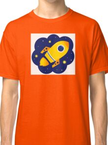 Yellow vector Rocket in space. Cartoon Illustration Classic T-Shirt