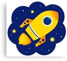 Yellow vector Rocket in space. Cartoon Illustration Canvas Print