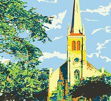 Historic St Francis Borgia Church - Cedarburg WI (bold) SQUARE by katherinepaulin