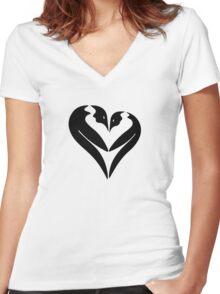 Penguin Heart Women's Fitted V-Neck T-Shirt