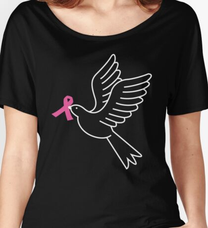 Peace Dove With Pink Ribbon Breast Cancer Awareness Shirt Women's Relaxed Fit T-Shirt