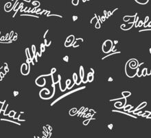 hand lettering Hello on different languages Sticker