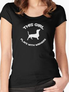 This girl plays with wieners Women's Fitted Scoop T-Shirt
