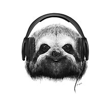Sloth DJ Photographic Print