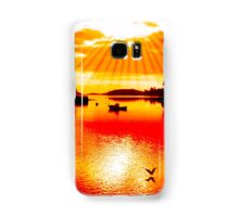 red hot silhouette of boat and birds at sunset Samsung Galaxy Case/Skin