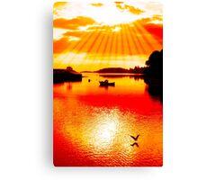 red hot silhouette of boat and birds at sunset Canvas Print