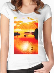 red hot silhouette of boat and birds at sunset Women's Fitted Scoop T-Shirt