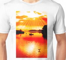 red hot silhouette of boat and birds at sunset Unisex T-Shirt