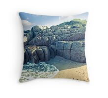 rock formation on a coastal beach in county Donegal Throw Pillow