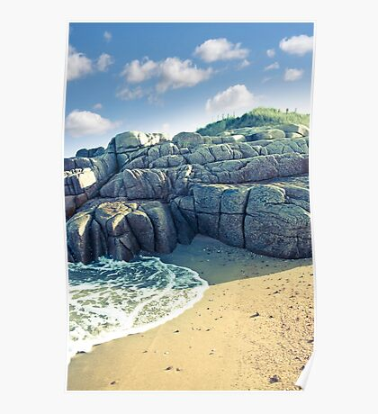 rock formation on a coastal beach in county Donegal Poster