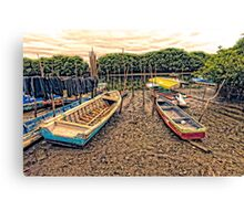 Boats on the Mud Canvas Print