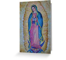 Our Lady of Guadalupe painting, Virgin of Guadalupe picture Virgin Mary print Black Madonna Mexico Greeting Card