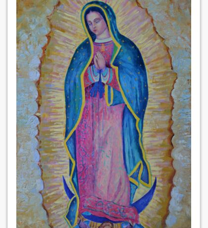 Our Lady of Guadalupe painting, Vergin de Guadalupe picture Virgin Mary print Black Madonna Mexico Sticker