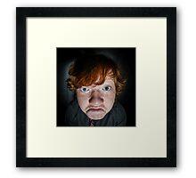 Emotive portrait of red-haired freckled boy, actor portfolio, childhood concept Framed Print