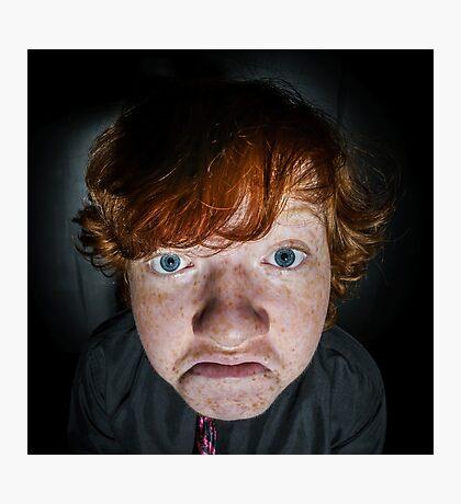 Emotive portrait of red-haired freckled boy, actor portfolio, childhood concept Photographic Print