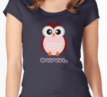 Cute Owl Sweet Nice Girl Girlfirend Woman Puffy Toy Animal Design Cartoon Gift T-Shirts Women's Fitted Scoop T-Shirt