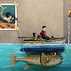 """""""Anyfin Is Possible"""" - Fisherman toy boat and Mermaid still life painting by LindaAppleArt"""