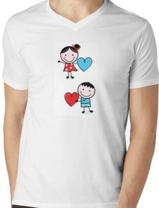 Illustration of happy Kids with Hearts / original blue and red edition Mens V-Neck T-Shirt