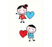 Illustration of happy Kids with Hearts / original blue and red edition Art Print