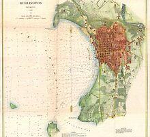 Vintage Map of Burlington Vermont (1872)  by BravuraMedia