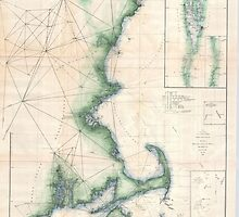 Vintage Map of the Massachusetts Coastline by BravuraMedia
