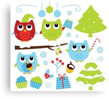 Cute Christmas design elements : blue, green and red Canvas Print