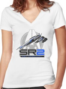 Mass Effect - Normandy SR2 Women's Fitted V-Neck T-Shirt