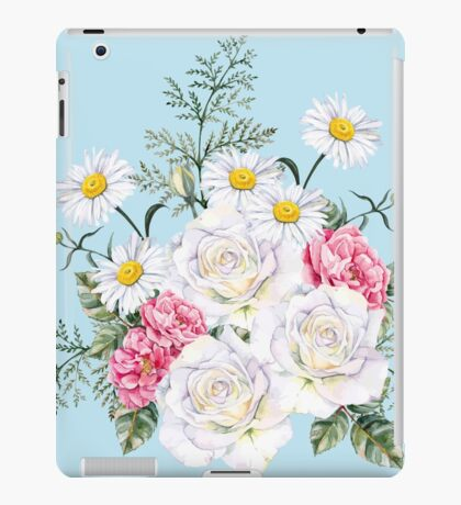 beautiful bucket of flowers,daisies,roses,peonies,shabby chic,country chic,on pale blue background,modern,trendy iPad Case/Skin